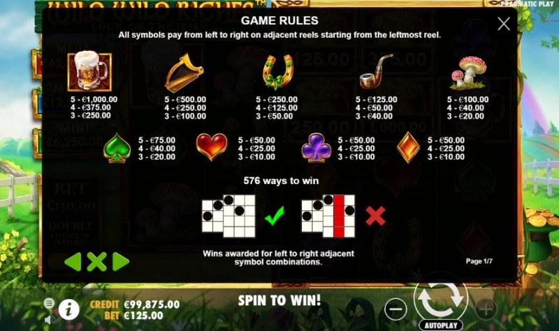 Wild Wild Riches Luck of the Irish :: Paytable