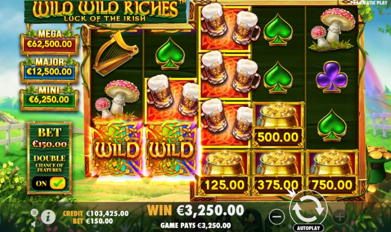 Wild Wild Riches Luck of the Irish :: Multiple winning combinations leads to a big win