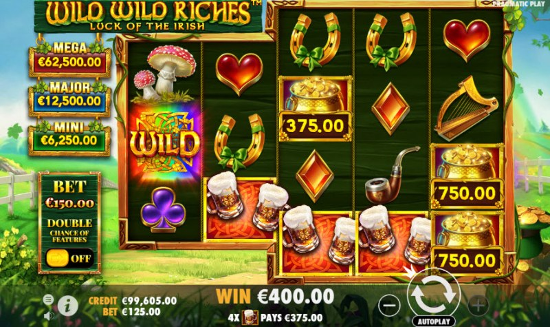 Wild Wild Riches Luck of the Irish :: Four of a kind Win