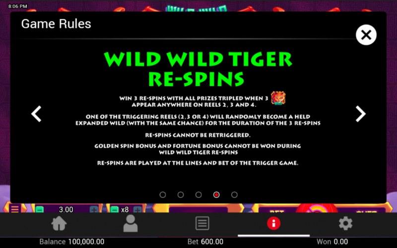 Wild Wild Tiger :: Re-Spins Feature