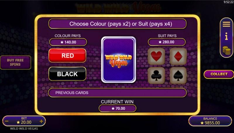Wild Wild Vegas :: Gamble feature