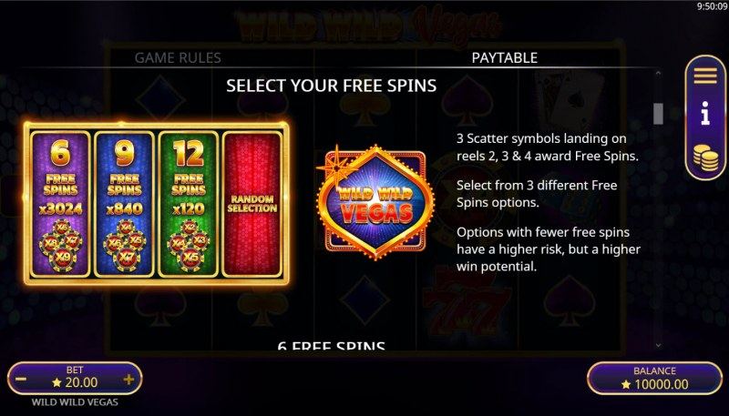 Wild Wild Vegas :: Free Spin Feature Rules