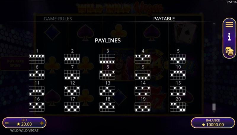 Wild Wild Vegas :: Paylines 1-20