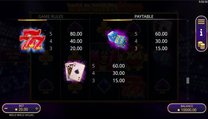 Wild Wild Vegas :: Paytable - High Value Symbols