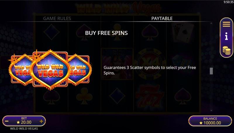 Wild Wild Vegas :: Buy Feature