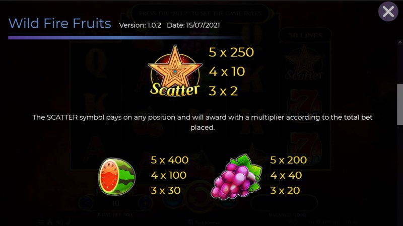 Wildfire Fruits :: Paytable - High Value Symbols
