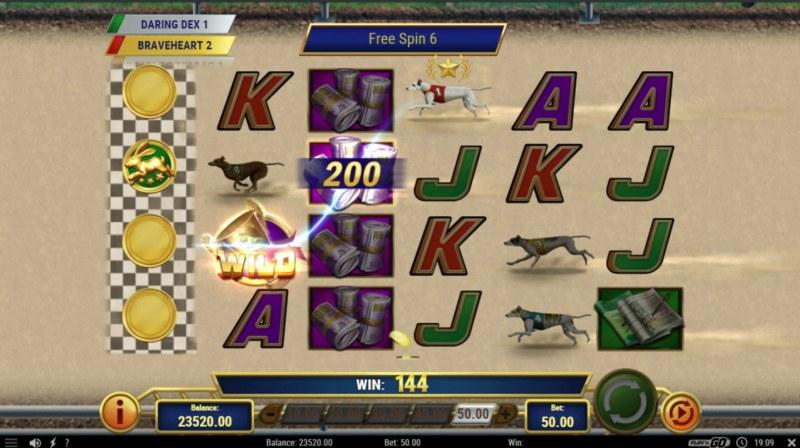 Wildhound Derby :: Wild dogs keep advancing until one reaches the far left column