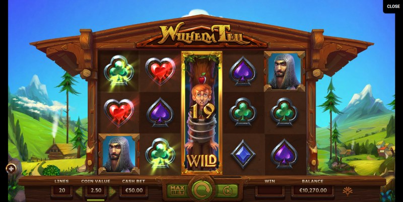 Wilhelm Tell :: Stacked wild symbols triggers multiple winning paylines