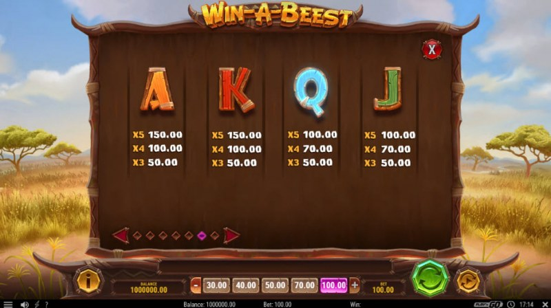 Win-A-Beest :: Paytable - Low Value Symbols