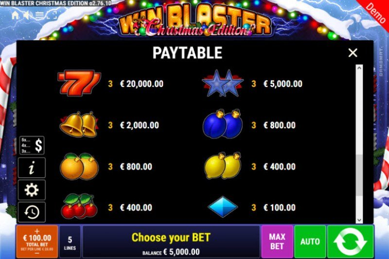 Win Blaster Christmas Edition :: Paytable