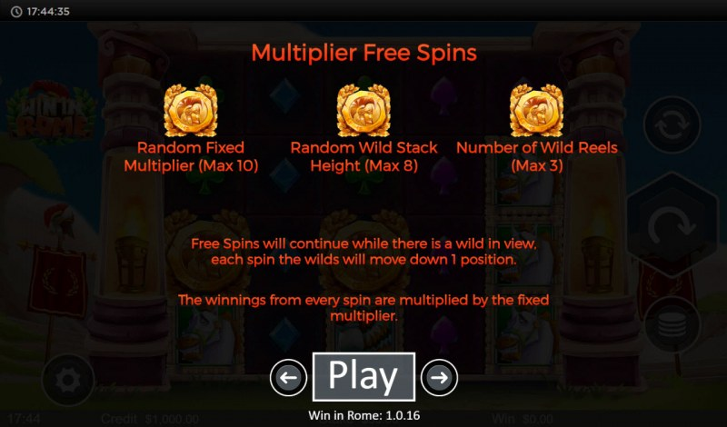 Win in Rome :: Free Spin Feature Rules