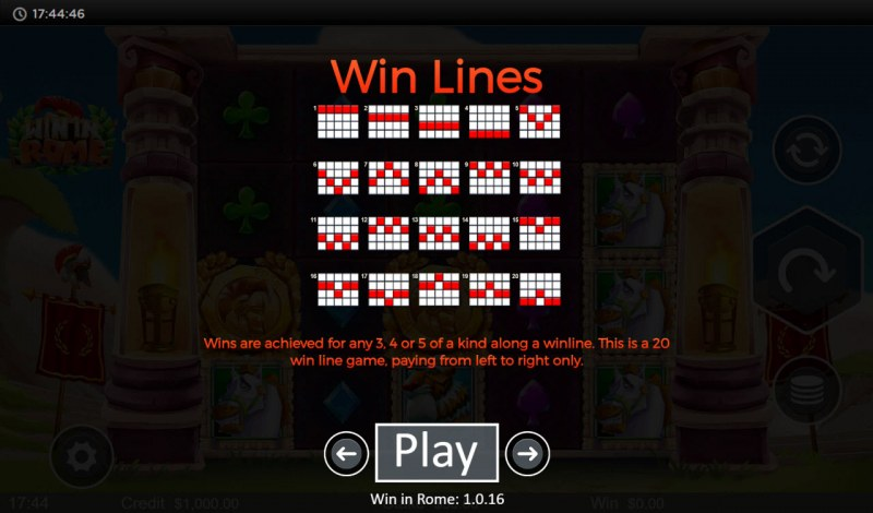 Win in Rome :: Paylines 1-20