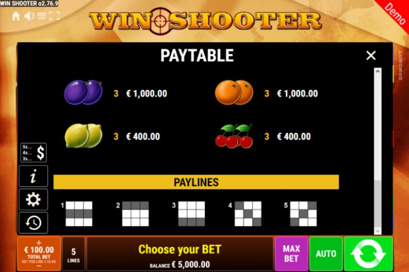 Win Shooter :: Paylines 1-5