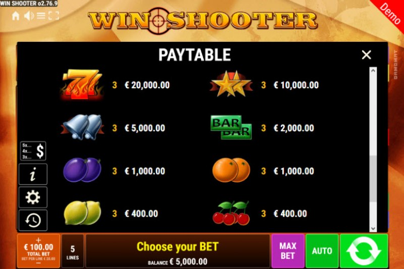 Win Shooter :: Paytable