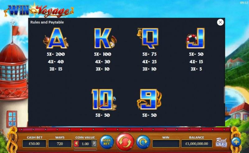 Win Voyage :: Paytable - Low Value Symbols