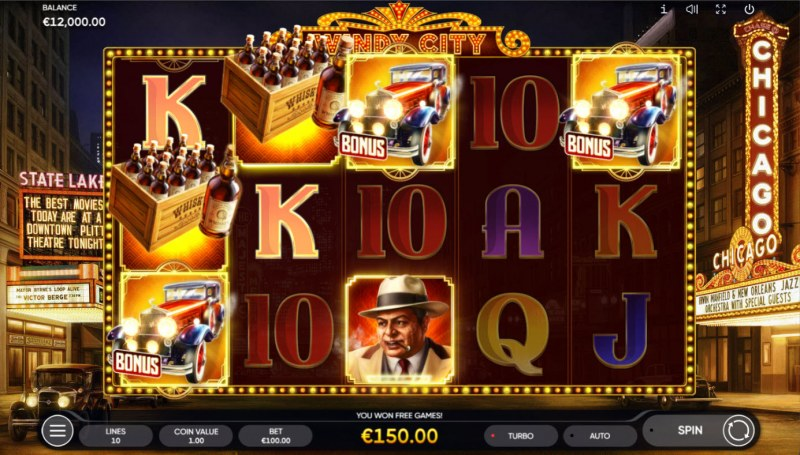 Windy City :: Scatter symbols triggers the free spins bonus feature