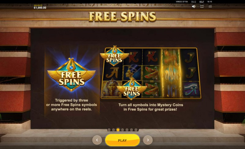 Wings of Ra :: Free Spins Rules