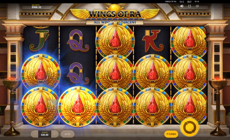 Wings of Ra :: Mystery coins landing on reels triggers feature