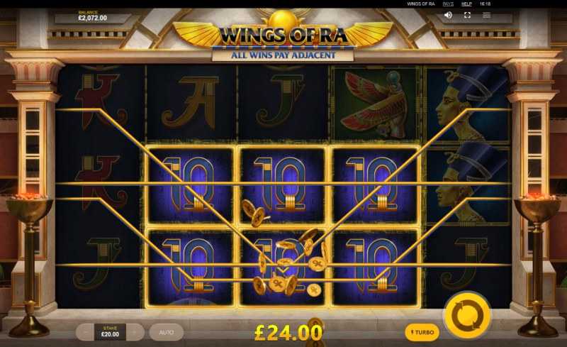 Wings of Ra :: Game pays on adjacent