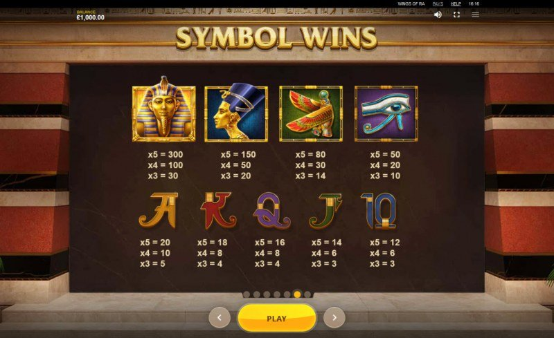 Wings of Ra :: Paytable