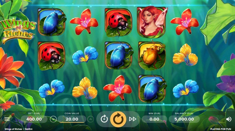 Play slots at Hello: Hello featuring the Video Slots Wings of Riches with a maximum payout of $150,000