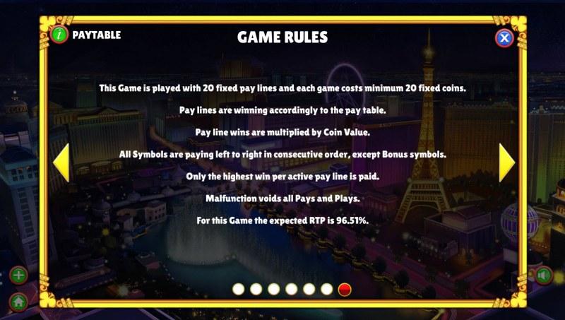 Winning Vegas :: General Game Rules