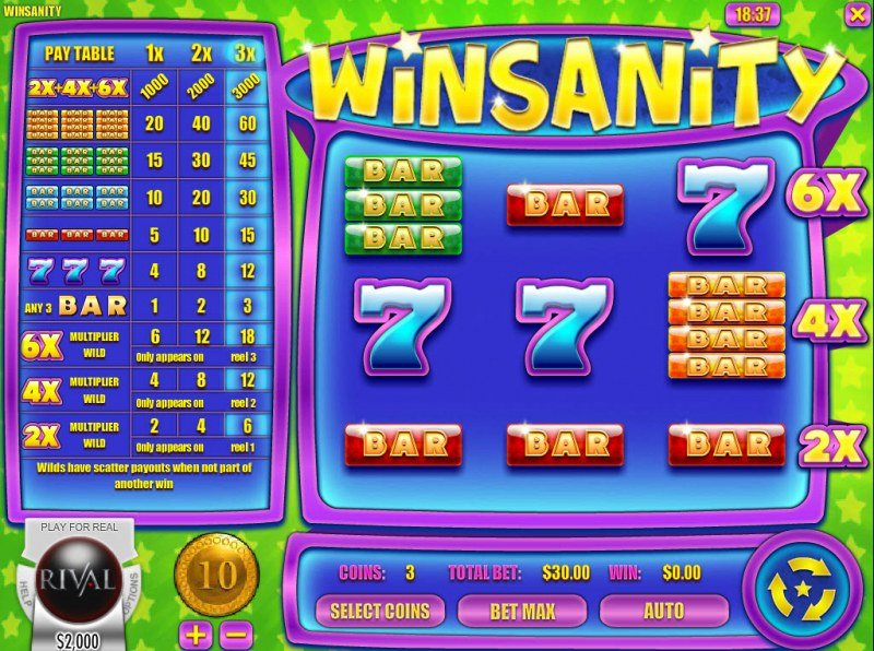 Play slots at Irish Luck: Irish Luck featuring the Video Slots Winsanity with a maximum payout of $30,000