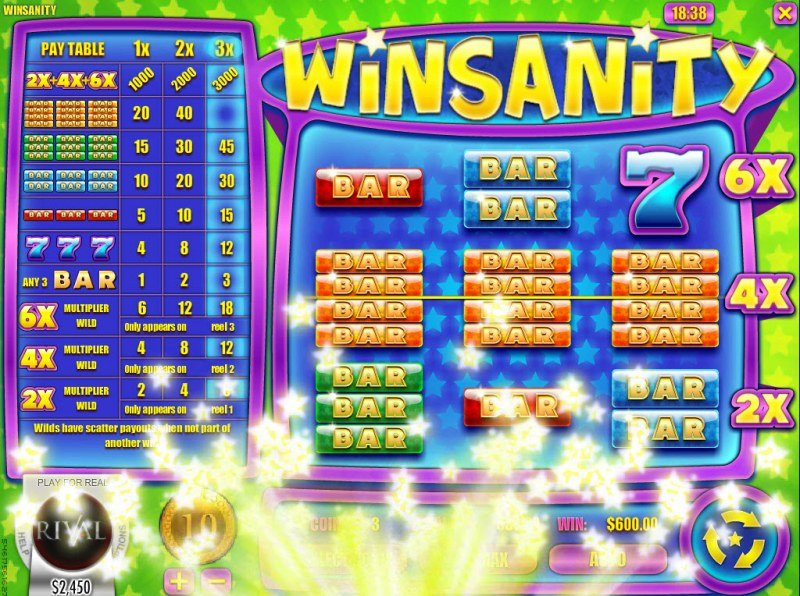Play slots at Slots Capital: Slots Capital featuring the Video Slots Winsanity with a maximum payout of $30,000