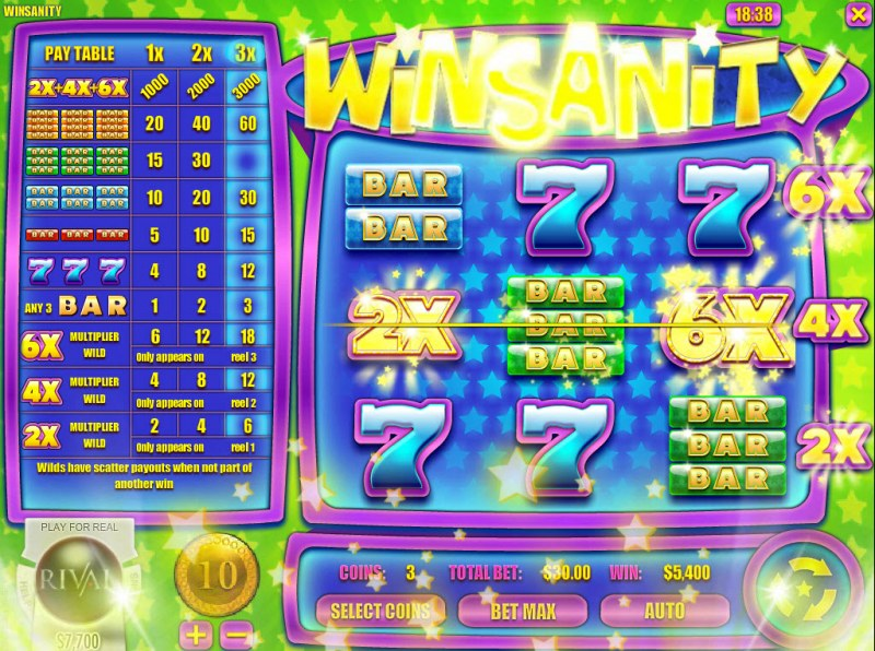 Play slots at Superior: Superior featuring the Video Slots Winsanity with a maximum payout of $30,000