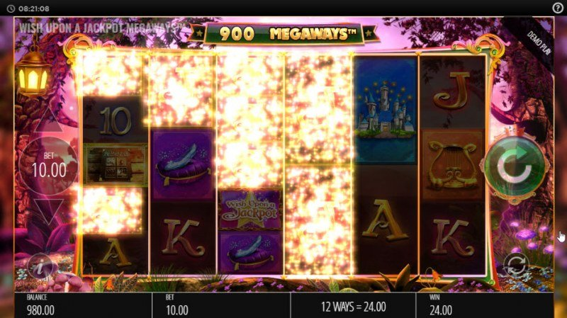 Wish Upon a Jackpot King :: Winning symbols are removed from the reels and new symbols drop in place