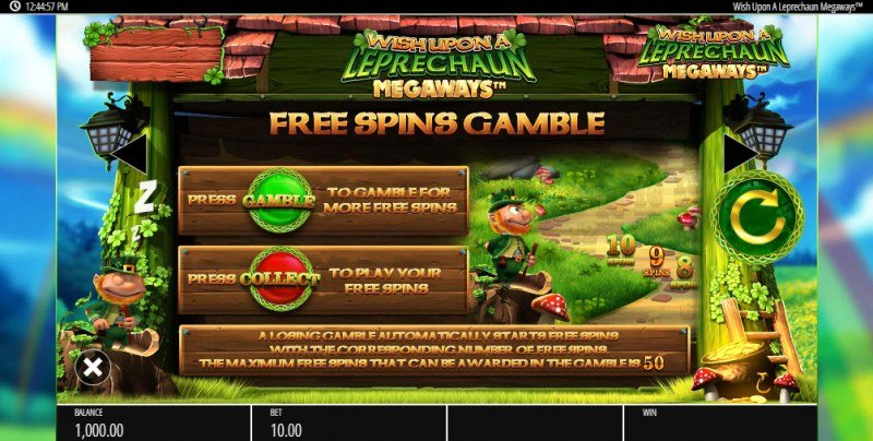 Wish Upon a Leprechaun Megaways :: Gamble Feature Rules