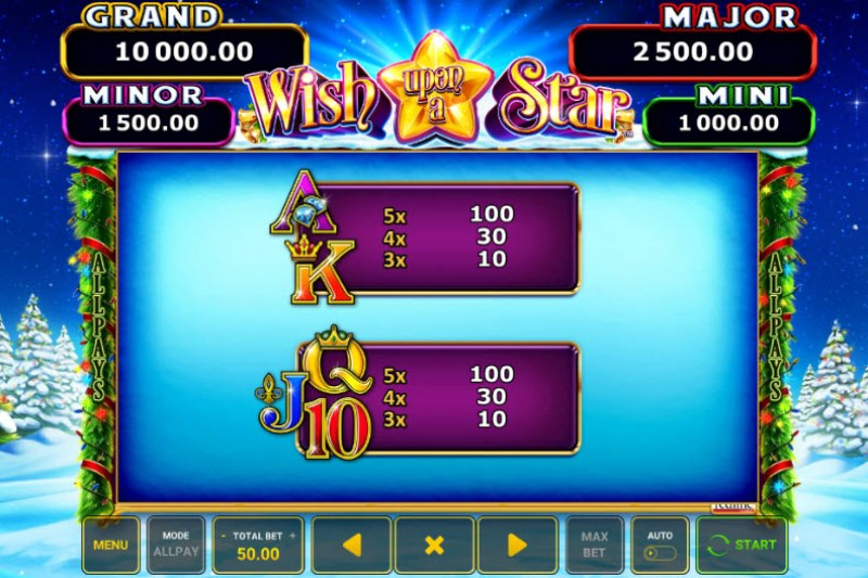 Wish Upon A Star :: Paytable - Low Value Symbols