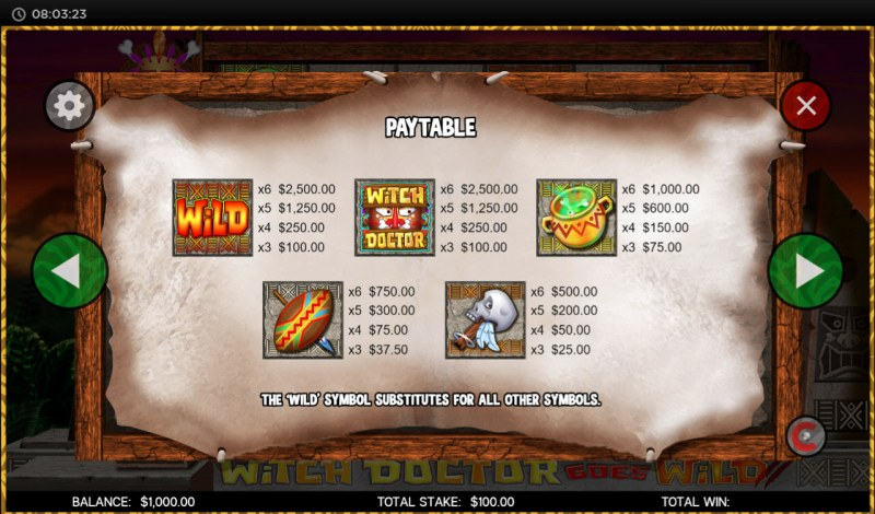 Witch Doctor Goes Wild :: Paytable - High Value Symbols