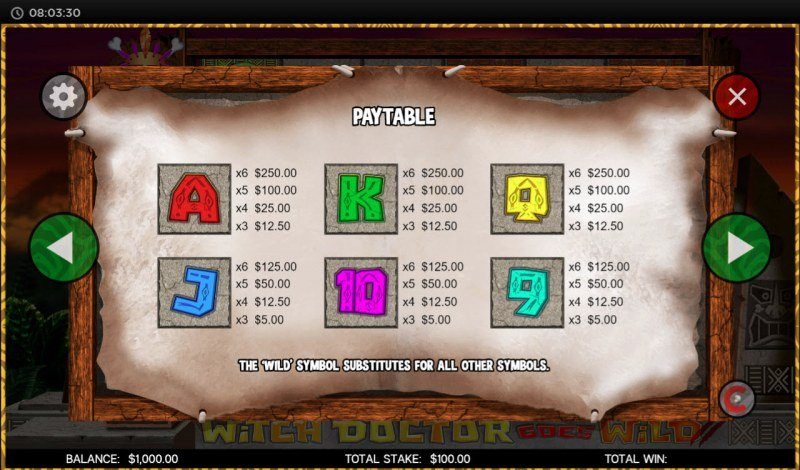 Witch Doctor Goes Wild :: Paytable - Low Value Symbols