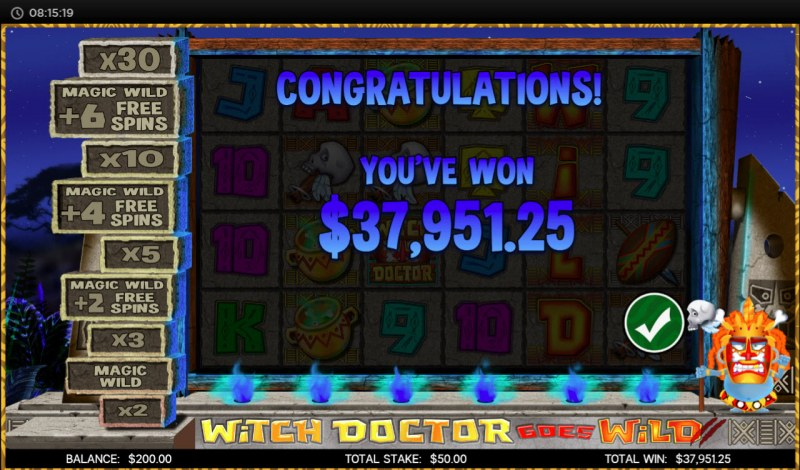 Witch Doctor Goes Wild :: Total free spins payout
