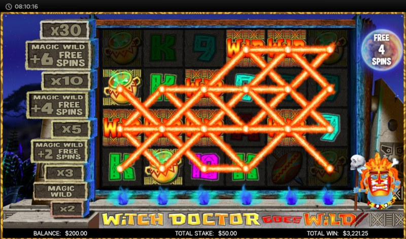 Witch Doctor Goes Wild :: Free Spins Game Board