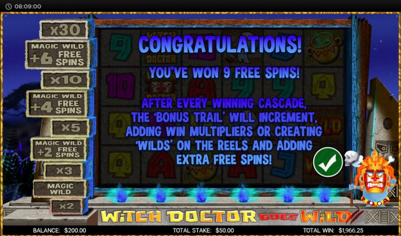 Witch Doctor Goes Wild :: 10 Free Spins Awarded