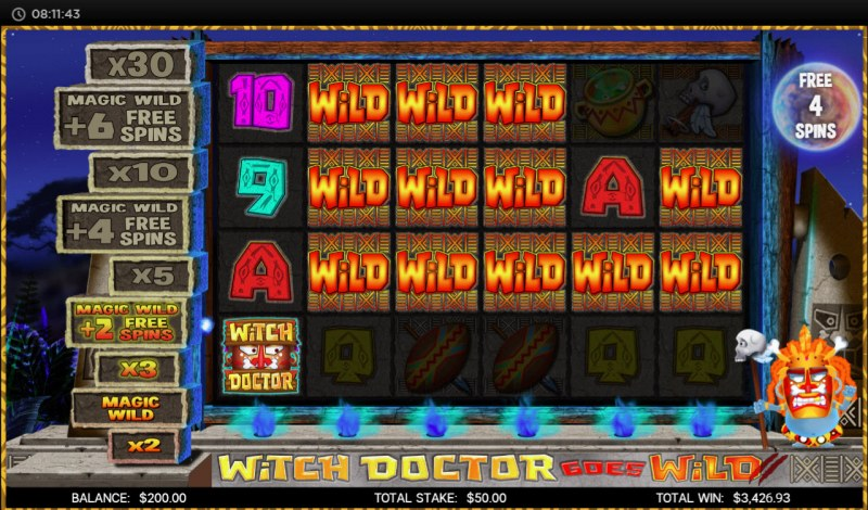 Witch Doctor Goes Wild :: Multiple winning combinations leads to a big win
