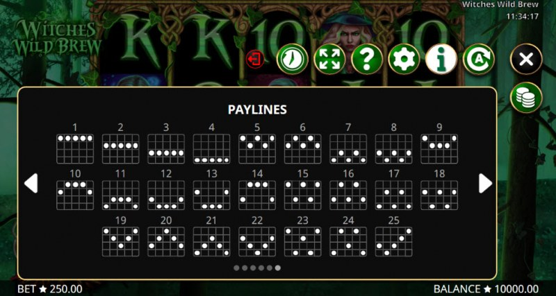 Witches Wild Brew :: Paylines 1-25