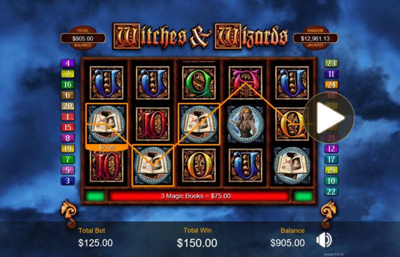 Play slots at Ruby Slots: Ruby Slots featuring the Video Slots Witches & Wizards with a maximum payout of $200,000