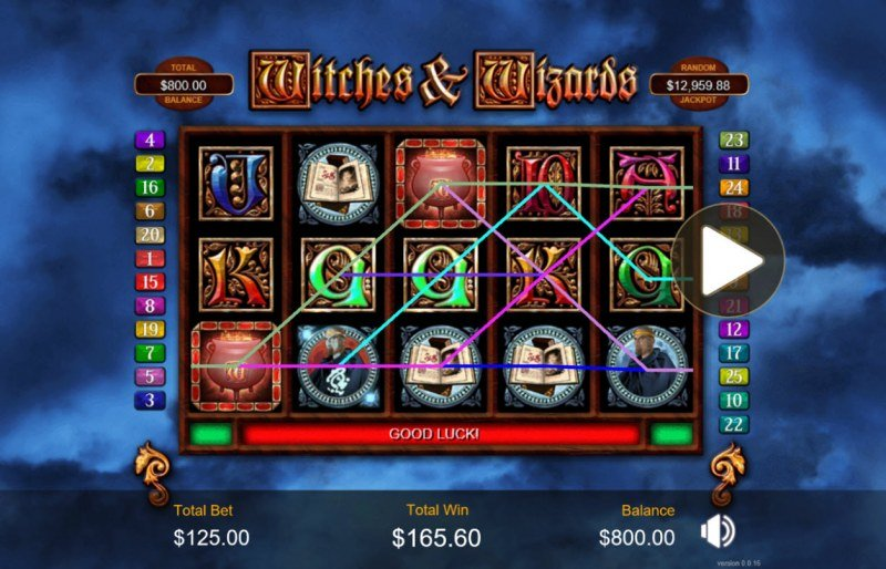 Play slots at Grand Rush: Grand Rush featuring the Video Slots Witches & Wizards with a maximum payout of $200,000