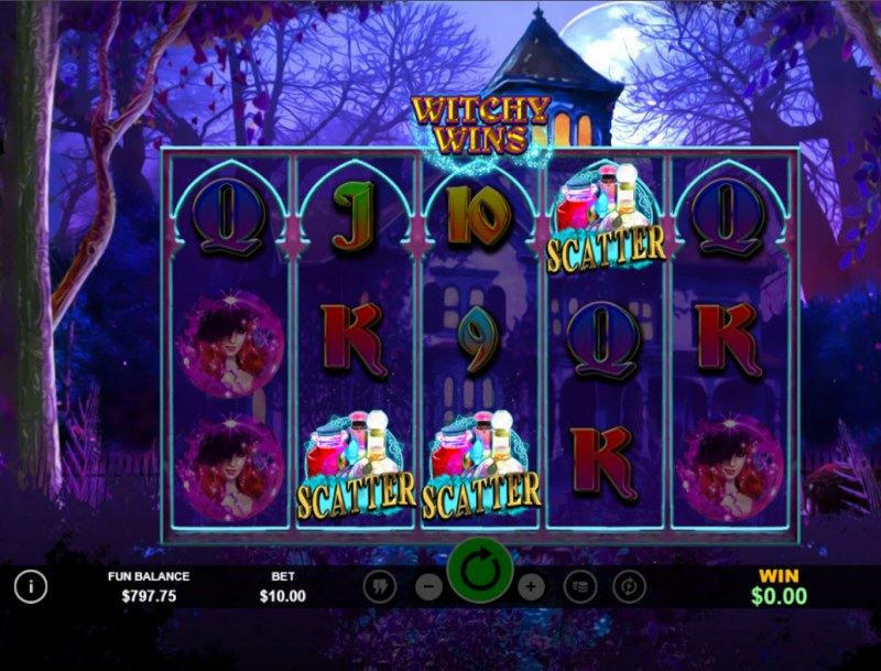 Witchy Wins :: Scatter symbols triggers the free spins bonus feature