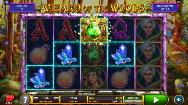 Wizard of the Woods :: Free Spins Game Board
