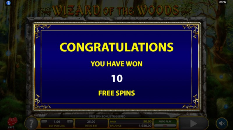 Wizard of the Woods :: 10 free spins awarded