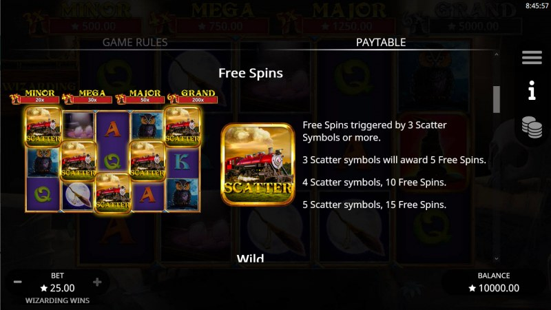 Wizarding Wins :: Free Spin Feature Rules