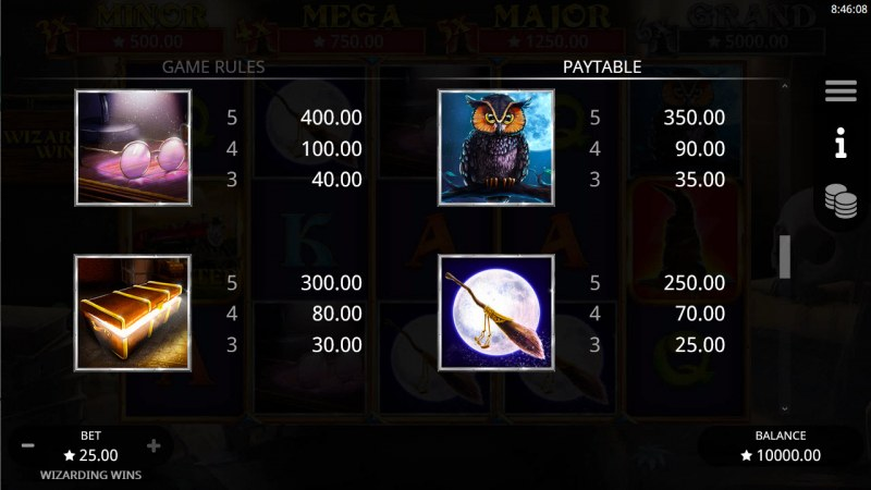 Wizarding Wins :: Paytable - High Value Symbols
