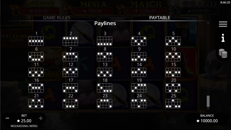 Wizarding Wins :: Paylines 1-25