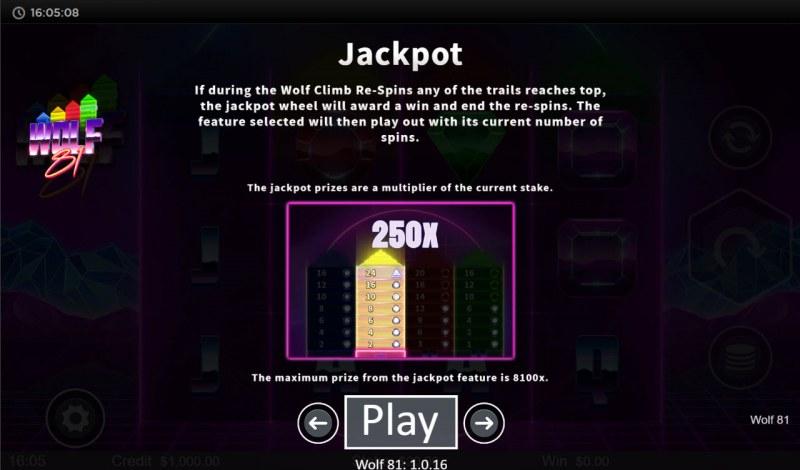 Wolf 81 :: Jackpot Rules