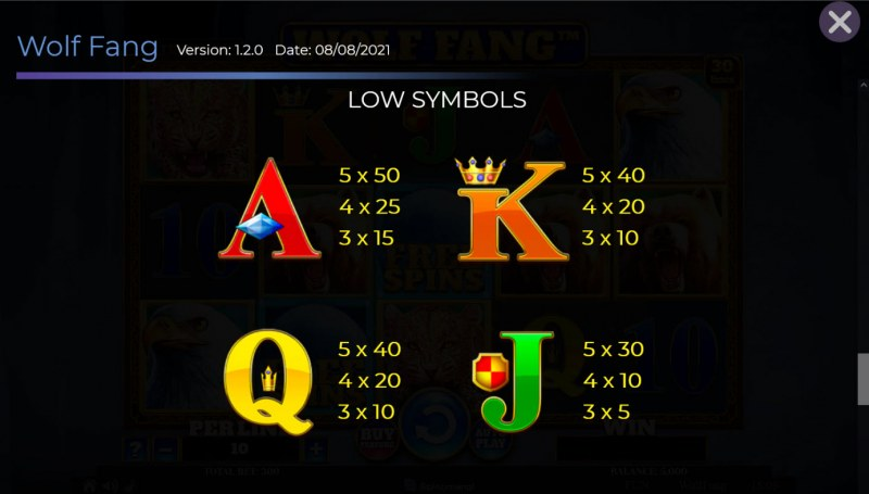 Wolf Fang :: Paytable - Low Value Symbols