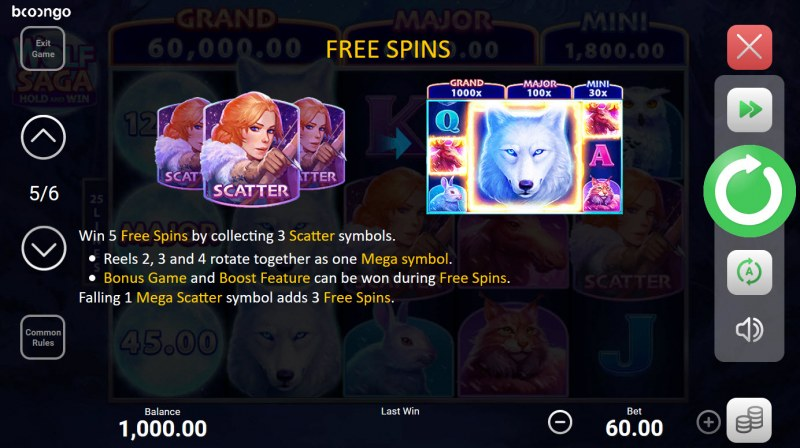Wolf Saga Hold and Win :: Free Spin Feature Rules